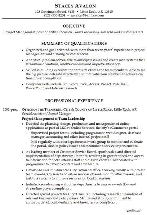 leadership objective statement resume exles project management and team leadership