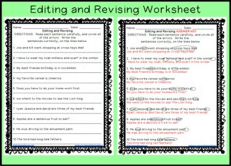 Proofreading Worksheets 6th Grade by Revising And Editing Sentences Printable Worksheet By