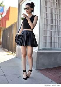 all black skirt crop top and high heels