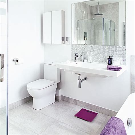 Purple And White Bathroom White Bathroom With Large Basin And Purple Accents Decorating Housetohome Co Uk