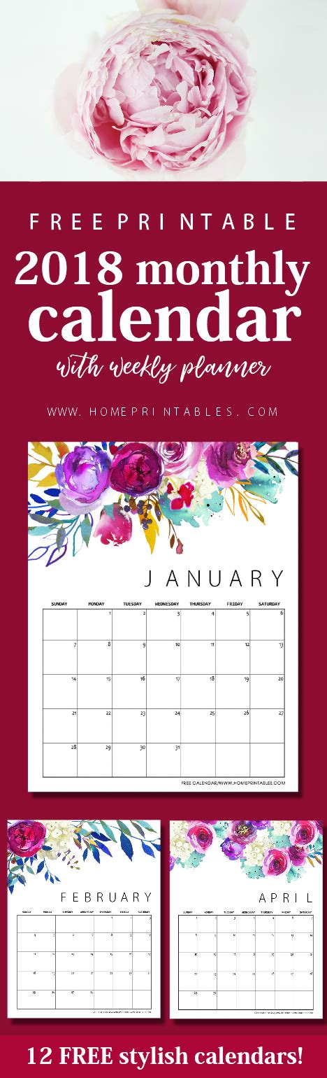 2017 2018 printable planner home binder set home free printable calendar 2018 in beautiful florals home