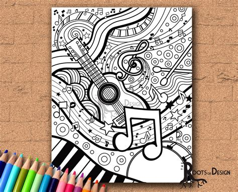 imgs for gt easy music drawing ideas instant download coloring page music art print zentangle