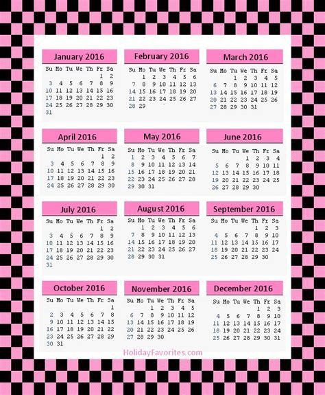 Printable Calendar 2016 Pink | 2016 pink printable calendar template 2016