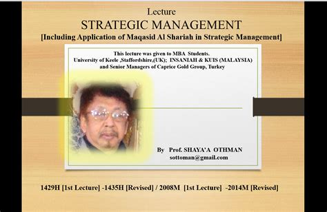 Strategic Management Ppt Slides Mba Students by Islamic Management Maqasid Al Shariah In Management