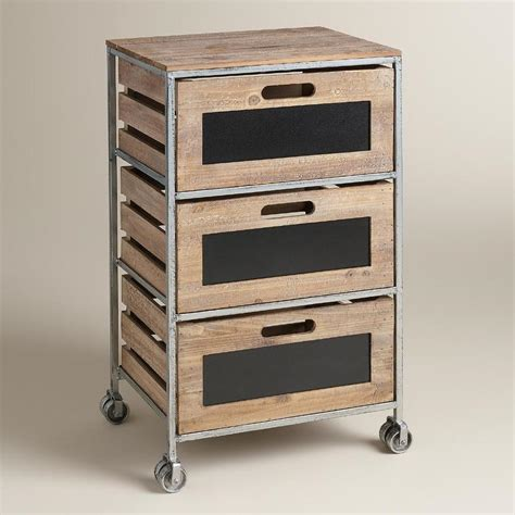 Rolling Storage Cart With Drawers Wood And Metal 3 Drawer Mackenzie Brown And Silver Rolling