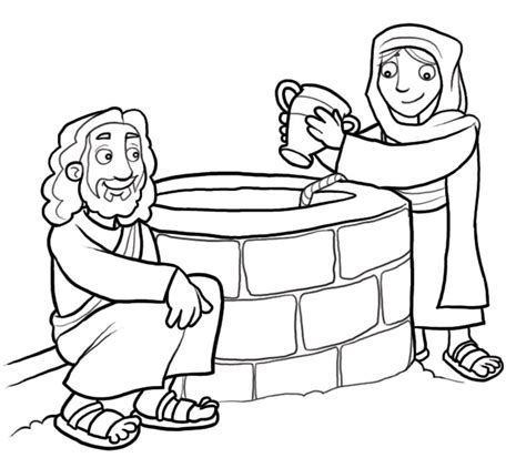 coloring page water well woman at the well coloring pages coloring home