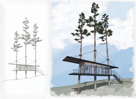 layout sketchup render modern treehouse design google sketchup rendering