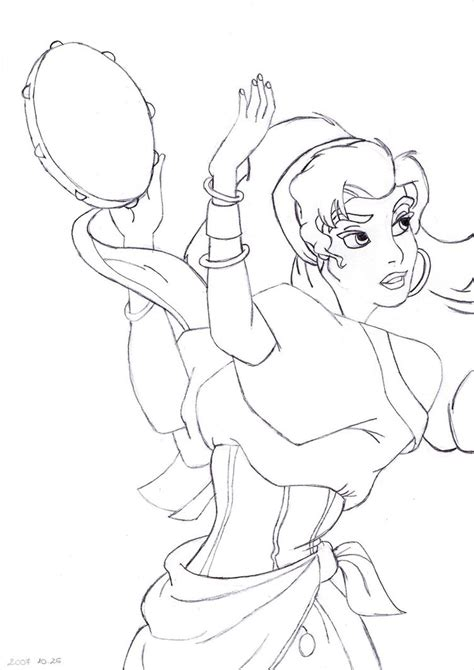 disney esmeralda coloring page how to draw disney esmeralda