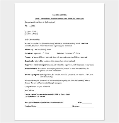 offer letter format for accountant pdf internship appointment letter template 10 docs formats