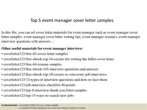 Event Management Cover Letter Top 5 Event Manager Cover Letter Sles