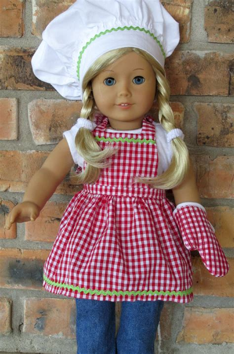 apron pattern american girl doll 18 inch doll clothes apron chef s hat and matching