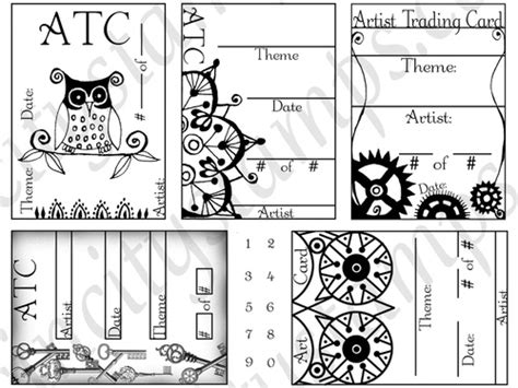 artist trading card envelope template atc artist trading card label rubber st sheet set sc83