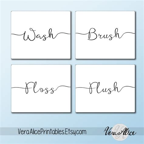 free printable wall art for bathroom wall art printable set bathroom sayings wash brush floss