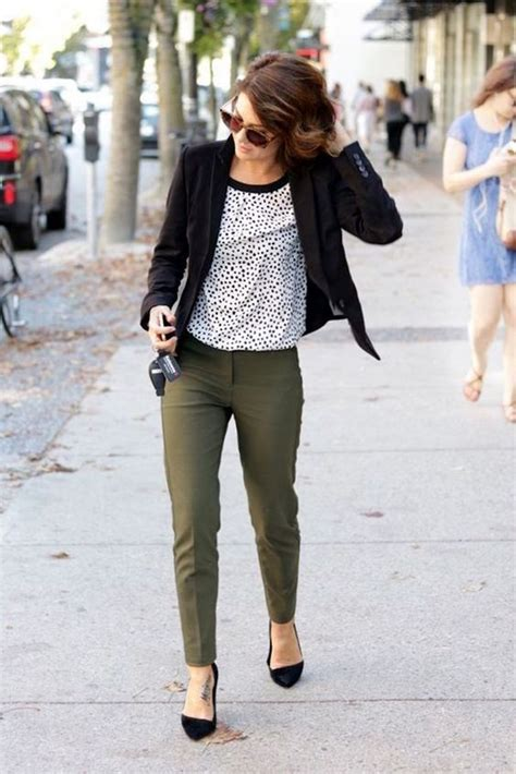 how to wear printed pantstrousers fall2013 pinterest picture of olive green pants a dalmatian print top a