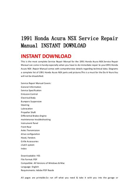 service repair manual free download 2001 acura nsx parental controls 1991 honda acura nsx service repair manual instant download