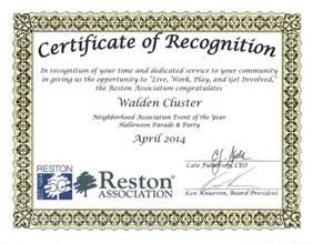 certificate of recognition walden cluster reston virginia