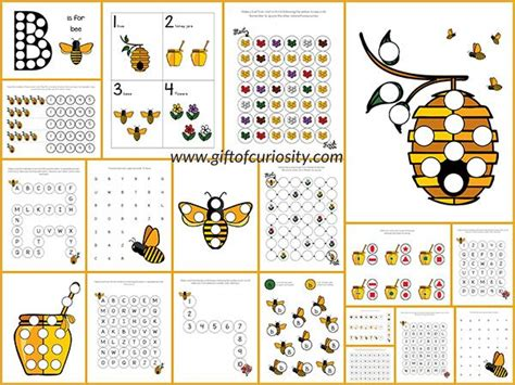 kindergarten activities bees free bee do a dot printables worksheets and bees