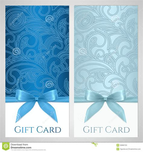 Paytronix Gift Card Template by Gift Voucher Gift Certificate Blue Bow Ribbons