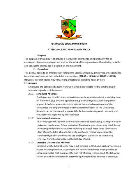 attendance policy template 5 employee attendance policy free premium templates