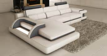 deco in canape d angle cuir blanc et gris design