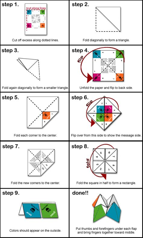 How To Fold Paper Fortune Teller - origami fortune teller template quotes