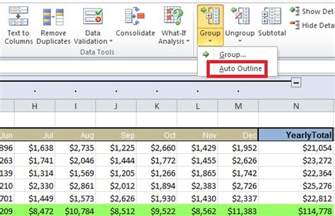 Create An Automatic Outline In Excel 2010 much data to view use auto outline to it office blogs