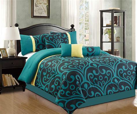 addison  piece modern comforter set teal blue black