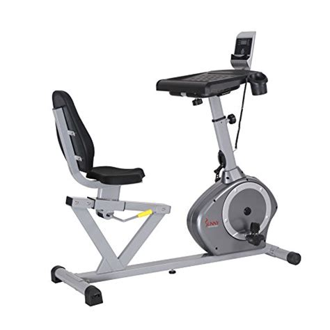sunny health fitness recumbent desk exercise bike with