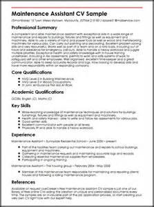 Maintenance Assistant Sle Resume by Maintenance Assistant Cv Sle Myperfectcv