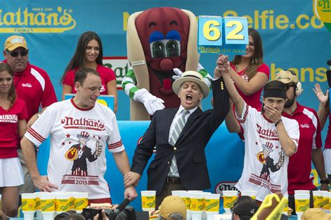 nathan s contest competitive eaters converge at coney island contest pbs newshour