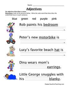are colors adjectives adjectives colors worksheet teaching