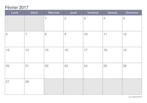 Vacances Fevrier 2016 2017 Calendrier 2017 A Imprimer Mois Par Mois 2017 2018