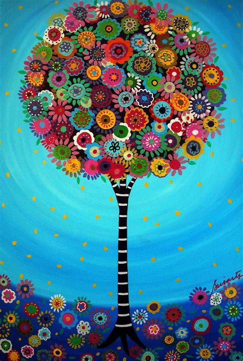 mexican folk art tree of life bar bat mitzvah painting