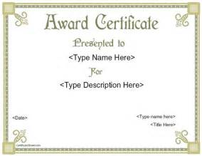 template of award certificate award templates free printable certificate templates