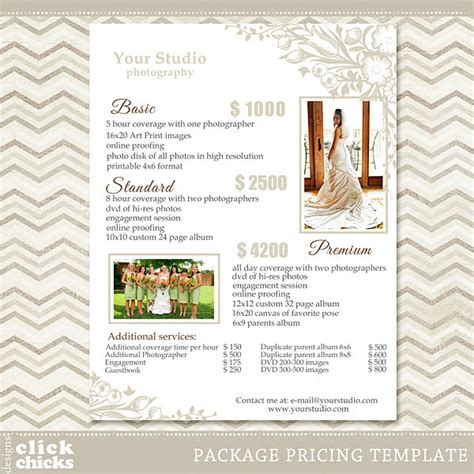 photography package pricing list template wedding packages