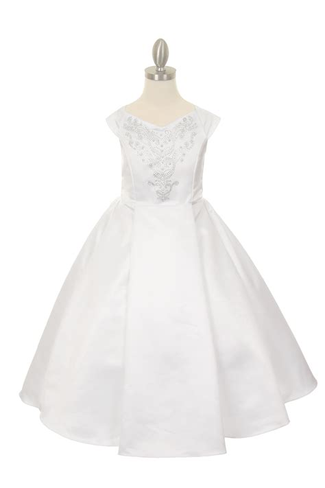 White Flower Dress Excellent Quality white flower dress for communion in wedding quality satin