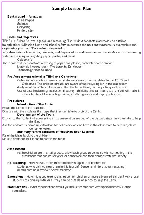 teks lesson plan template search results for a sle of a lesson plan page 2