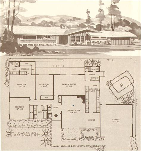 1960s ranch house plans c 1960 hiawatha estes plans no 3730 home exteriors