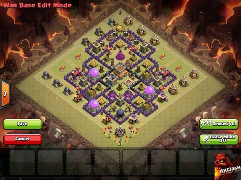 clash of clan 8 town hall war base clan war base design from th5 to th10 2015 clan