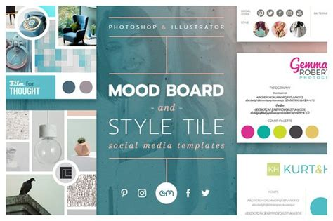 Mood Board Style Tile Pack Pinterest Studios Facebook And Blog Mood Board Illustrator Template