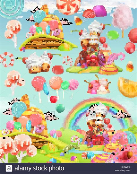 sweet candy land cartoon game background  vector icon