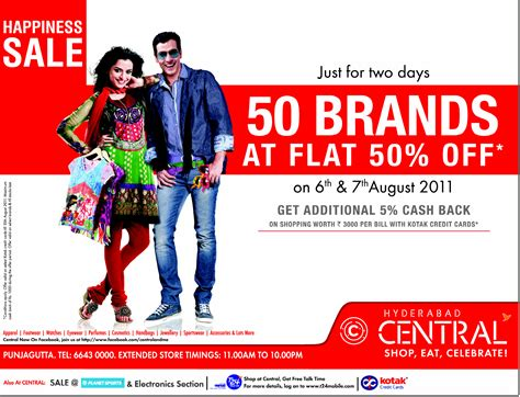 happiness sale up to 50 off on 50 brands at central