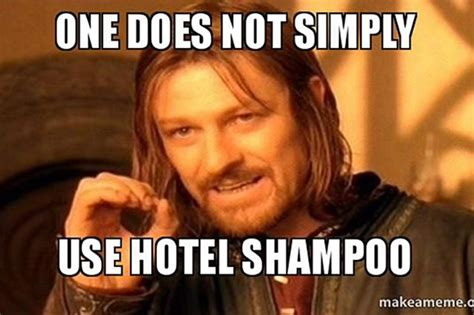 Meme Beauty Supply - the stages of using hotel shoo told through memes