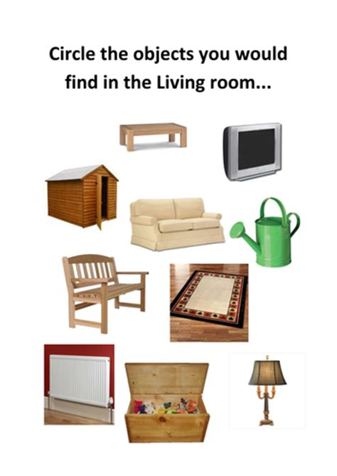 find a room circle the items you would see in a living room by kayld teaching resources tes