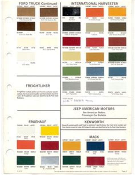 automotive paint color codes original color international scout binder bench auto paint