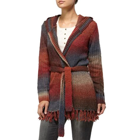 womens sweaters quiksilver sunset lake ombre wrap sweater s evo