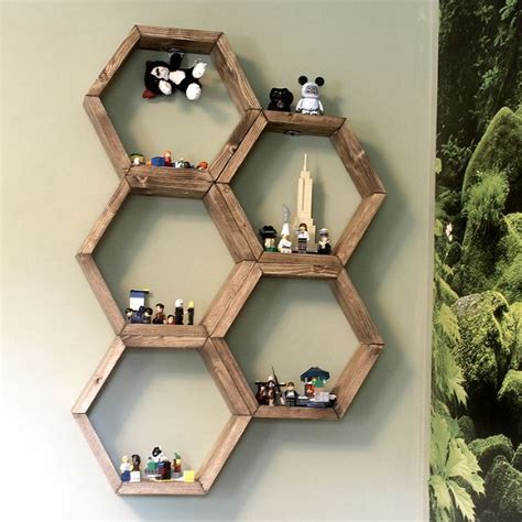hometalk make honeycomb hexagon display shelves