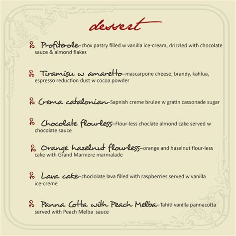 dessert menu templates 17 best images about dessert menu on lunch