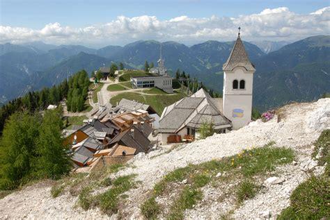 alte hutte tarvisio monte lussari sanctuary above the town of tarvisio italy