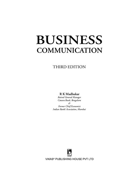 Download Business Communication by R K Madhukar PDF Online